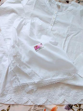 Piżama spodenki białe z efektownym wykończeniem