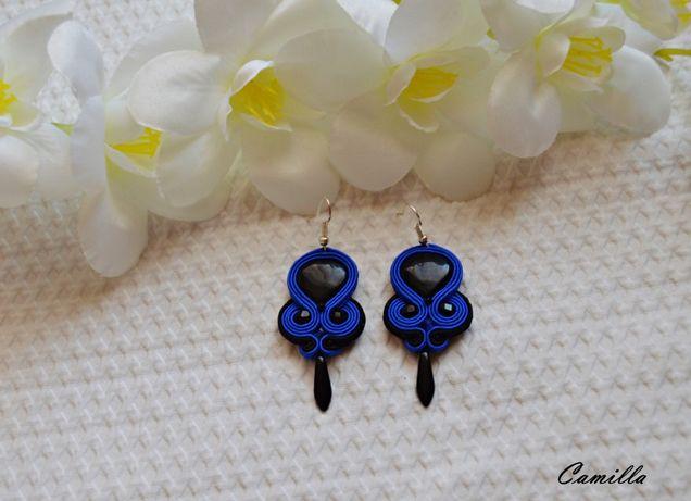 Niebiesko-czarne kolczyki sutasz