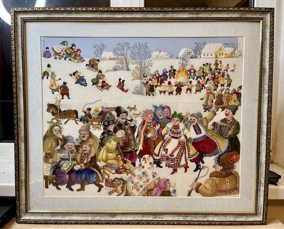 Картина вышивка гладь «Вечера на хуторе близ Диканьки»