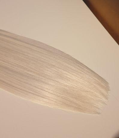 Włosy naturalne 60cm  kolor #60 platyna jasny blond