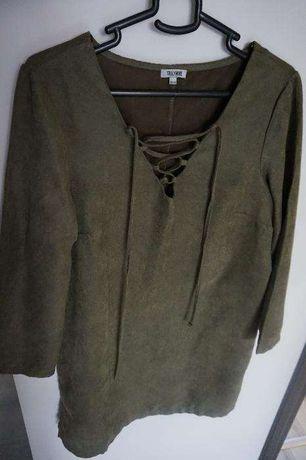 sukienka zara tunika khaki zielony sm