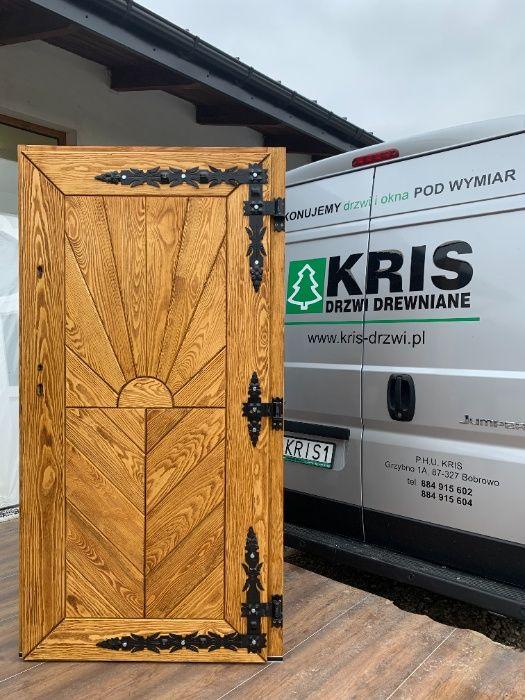 Drzwi drewniane zewnętrzne ocieplane szczotkowane olejowane CAŁY KRAJ Grzybno - image 1