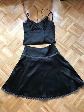 Czarny komplet na imprezę spódnica i gorset L 40
