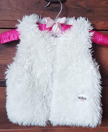 Kamizelka bolerko dziewczęca białe futerko 18-23 miesiące, rozmiar 92