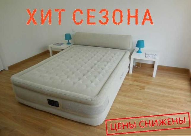 Двуспальная кровать 152х203х48см с насосом Ламзак. Ліжко