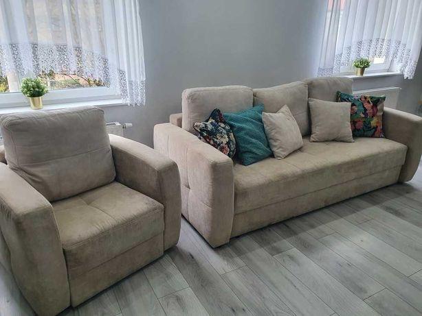 Sofa w zestawie z fotelem