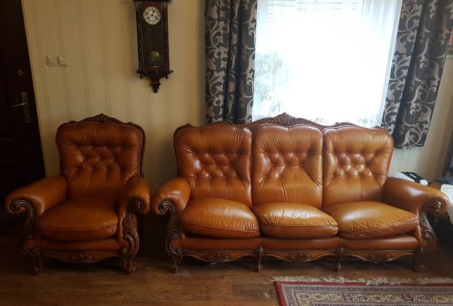 Sofa Kanapa skórzana rozkładana + fotel skóra naturalna