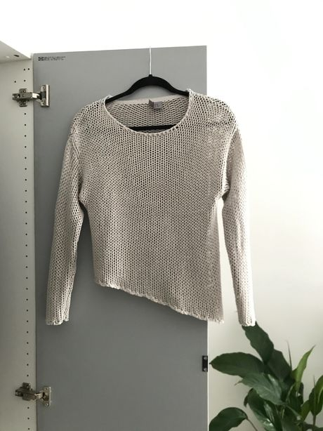 Sweter beżowy asymetryczny hm H&M nude
