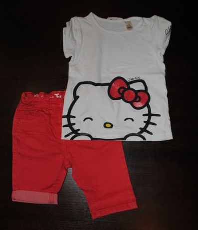 61-> komplet HELLO KITTY H&M+TU koszulka bluzka szorty r.110/116 4-6Y