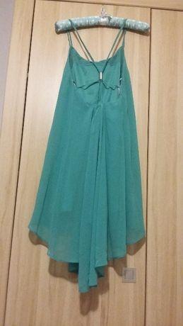 Sukienka asos 34 xs butelkowa zieleń zwiewna