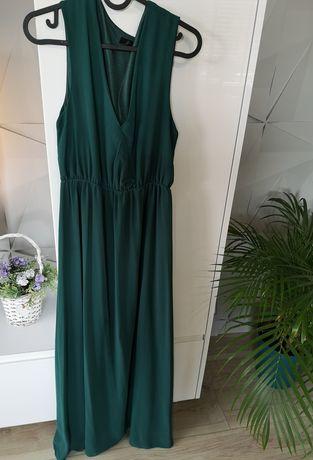 Długa suknia butelkowa zieleń