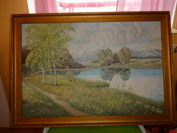 Stary duzy obraz malowany na plotnie