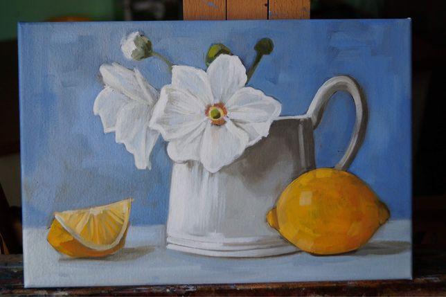 Натюрморт Живопись маслом Нарцисс и лимон