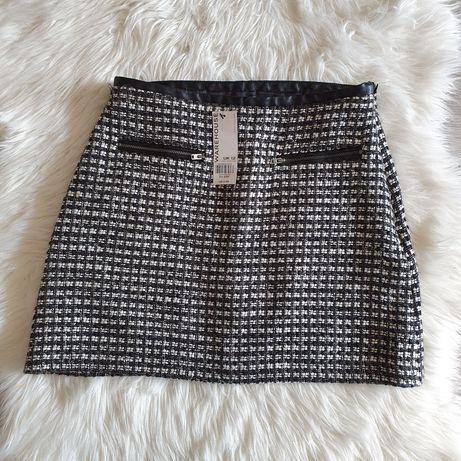 Warehouse spódniczka spódnica w pepitkę skórzana S M 36 38 czarna nowa