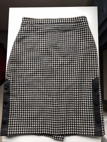 Шерстяная юбка в гусиную лапку шерсть кожа винтаж