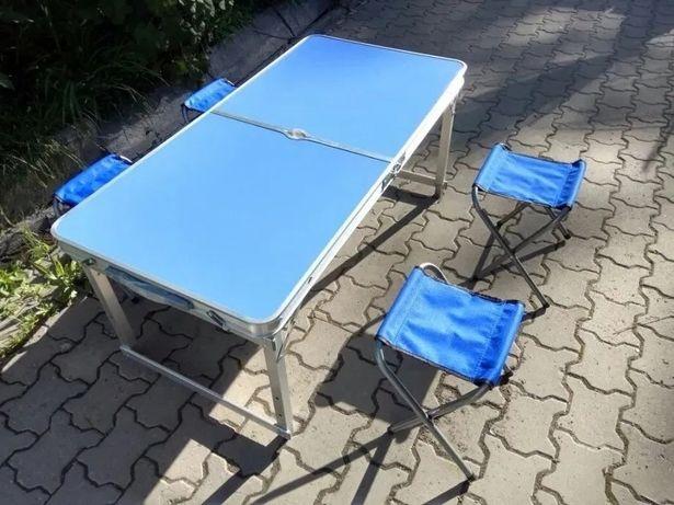 Усиленный стол для пикника (разные цвета) 4 стула и зонт