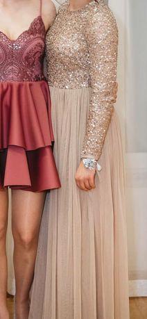 Suknia beżowa z cekinami