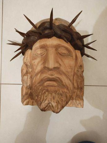 Głowa Jezusa rzeźba drewno korona cierniowa