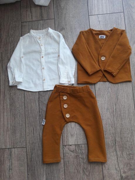 Garniturek chrzciny/roczek+koszula Zara rozm 80