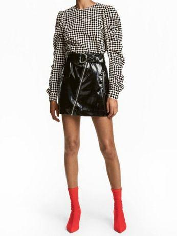 H&M юбка кожа/лакированная