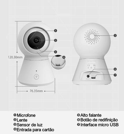 Câmara vídeo vigilância FULL HD microfone coluna de som Tuya SmartLife