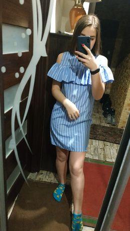 Голубое весенне-летнее платье