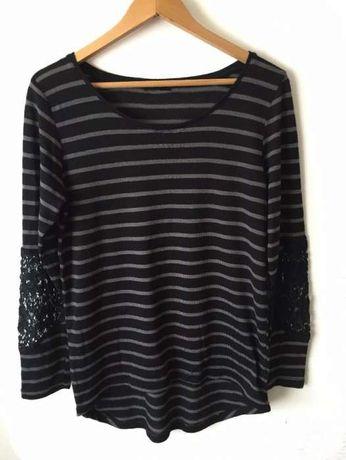 sweter bluzka paski czarny szary pasiak wstawka koronka haft wycięcia