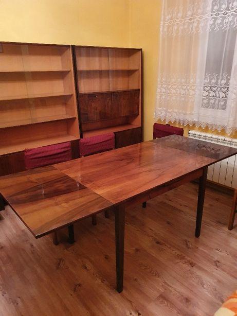 Meble PRL wysoki połysk komplet 3 szafy rozkładany stół i 6 krzeseł