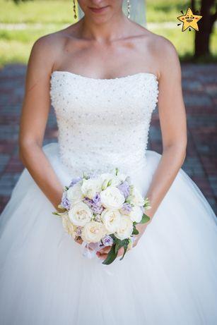 Пышное фатиновое свадебное платье