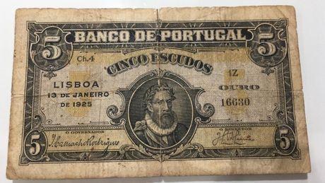 Nota Portugal 5 escudos 1925