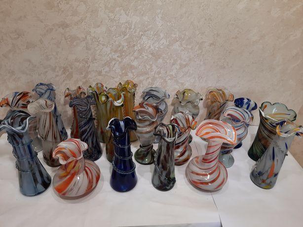 Советское цветное стекло вазы конфетницы рыба