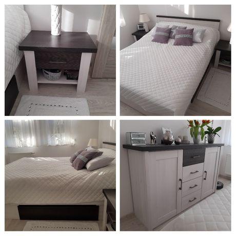 Meble do sypialni, łóżko, komoda, szafki.