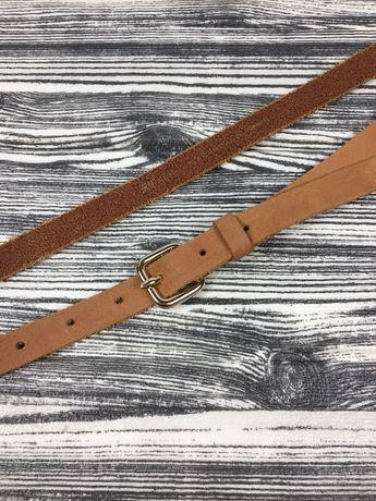 Кожаный фирменный узкий коричневый ремень H&M zara mexx 95