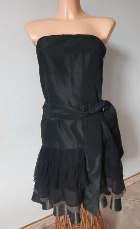 Sukienka damska bez ramiączek czarna z brązem jedwabna falbanki Zara