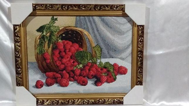 "Картина гобелен "" Корзина с фруктами"",размером 47х57 см."