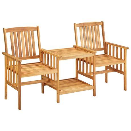 vidaXL Cadeiras de jardim c/ mesa de centro 159x61x92 cm acácia maciça 45933