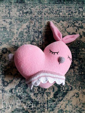 Mięciutka poduszka serce króliczek w spódniczce. 40cm szer. Handmade