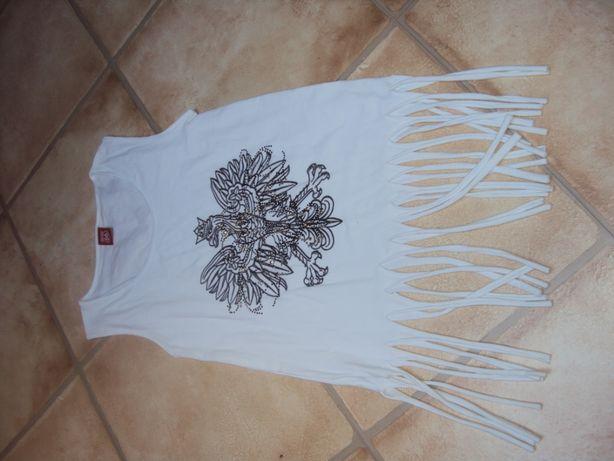 Koszulka nowa biała z orłem bluzka top xs/s 158/164 frędzle