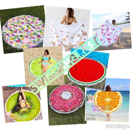 Пляжное круглое полотенце коврик Арбуз , Лайм , Киви , Пончик  150 см