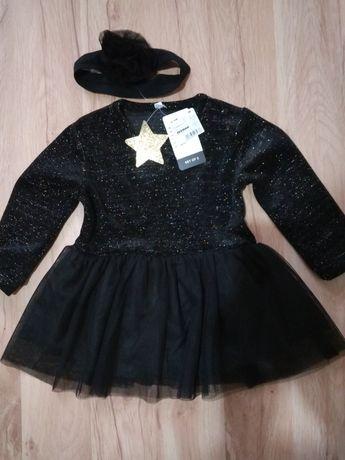 Śliczna czarna sukienka z opaską rozm. 86 zeeman nowa WYSYŁKA GRATIS!