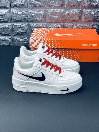Найк Nike Air Force Af1 білі шкіряні кроссівки Кроссовки Найк кожа Топ