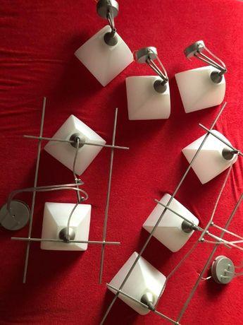 sprzedam komplet lamp /2 wiszące 3 żarówki, 2 żarówki+3 poj. kinkiety
