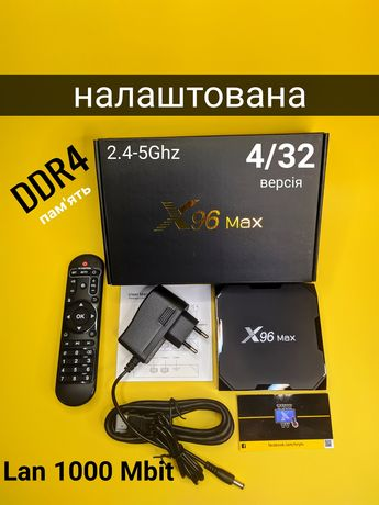 Смарт приставка Smart TV X96MAX S905X2 LDDR4 4/32 1000 Mbit Dual WiFI