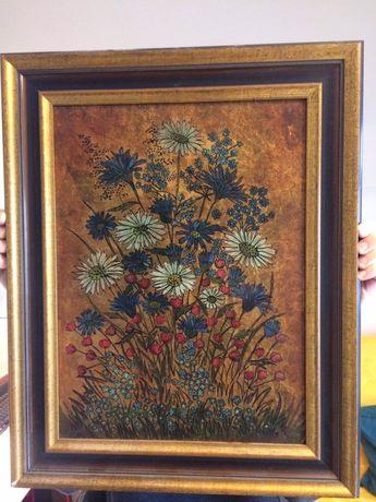 Obraz olejny w ramie- bukiet kwiatów