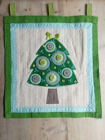 Duża choinka, paczwork, ozdoba, tkanina, Boże Narodzenie, rękodzieło