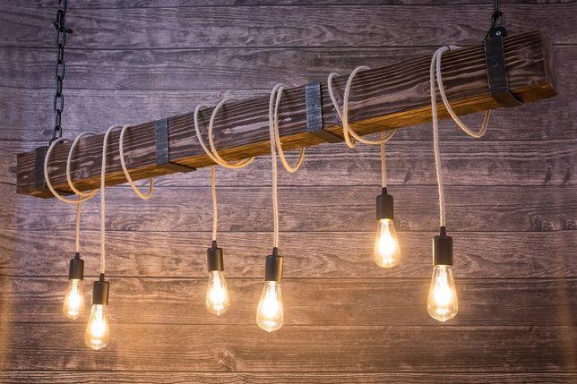 Lampa z drewnianej belki 150 cm, Rustykalne oświetlenie