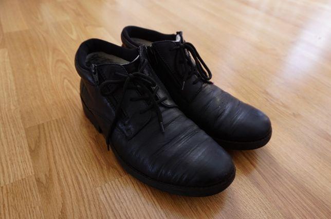 Buty Trzewiki Rieker skórzane czarne ocieplane wełną naturalną rozm.43