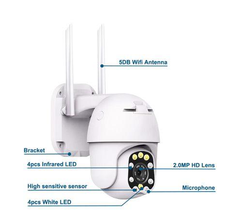Camera Vigilância Wireless FULL HD 4X ZOOM Prova de Agua Visão Noturna