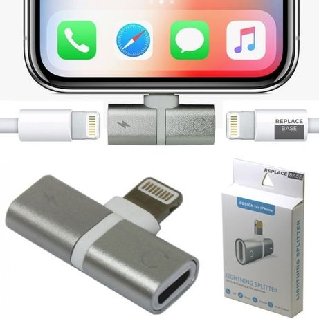Переходник Адаптер 2 в 1 Lightning splitter для iPhone и iPad