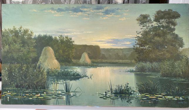 Картина рассвет, природа, лето, рыбалка